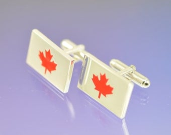 Maple Leaf Cufflinks. Red Canadian style cufflinks. The national flower of Canada