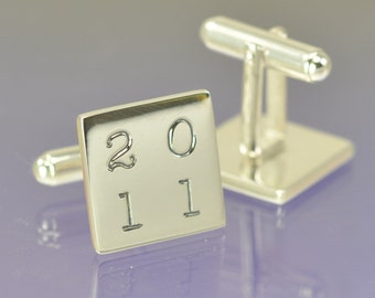 Personalised Date Cufflinks. Your special date hand engraved.