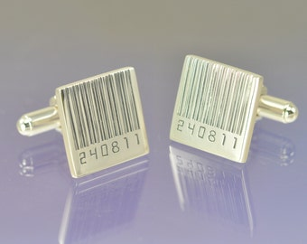 Personalised Barcode Date Cufflinks. Your special date hand engraved.