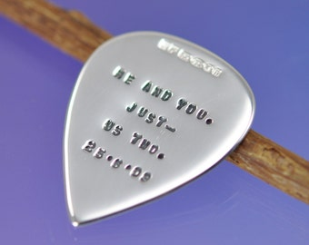 Sterling Silver Guitar Pick - Plectrum. Personalised, custom, stamped, name, phrase, quote,lyrics. You decide on the words.
