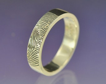 Personalised Fingerprint Ring. Your print hand engraved on a 5mm wide sterling silver ring.