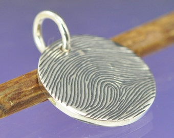 Personalised Fingerprint Charm. Your fingerprint hand engraved on Sterling Silver