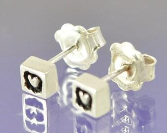 Heart Within Silver Stud Earrings.