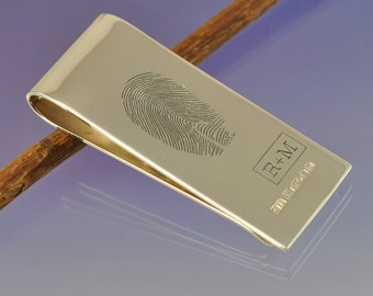 Personalised Fingerprint Money Clip. Your print hand engraved onto a handmade sterling silver money clip.