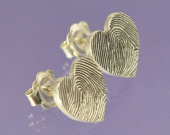 Personalised Fingerprint Earrings Your fingerprint hand engraved on Sterling Silver