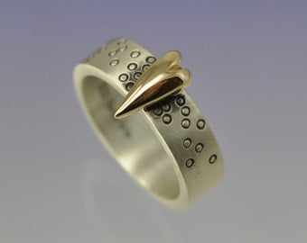 Large 9k Yellow Gold Heart atop a Silver Ring. Small Version