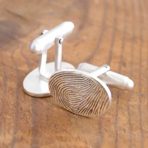 Personalised Fingerprint Cufflinks. Your print on his cuffs.