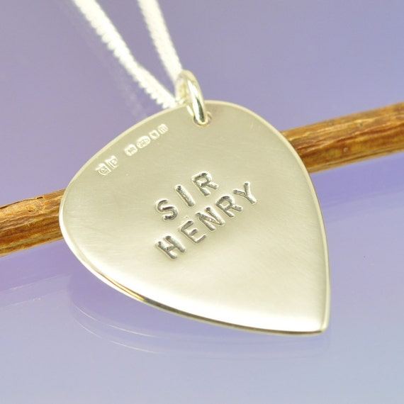 Sterling Silver Guitar Pick (plectrum). Personalised with your quote.