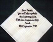 From Bride to Groom Wedding Hankie 52S Wedding handkerchief,embroidered hankie,custom, hanky 52S