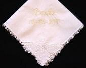 Wedding handkerchief with corner lace, simple, sweet, bride, bridal party, bridesmaid, matron of honor, gift, keepsake