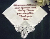 30 words of your choice From the Groom to Mother of the Bride 1SLFree gift box Personalized Wedding Handkerchief