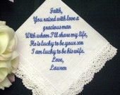 From Bride to Mother of the Groom with Gift Box 56S includes shipping in the US Personalized Wedding Handkerchief