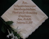 30 words of your choice Bridal Ivory Wedding Handkerchief with gift box 9S Personalized Wedding Handkerchief