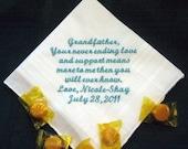 Grandfather 40S Personalized Wedding Handkerchief grandpa hankie,poppophanky