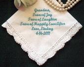 Grandmother 96S Personalized Wedding Handkerchief