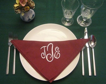 12 Monogrammed dinner napkins in cranberry.fFREE shipping in the US