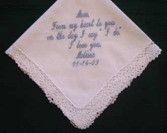 Mother of the Bride 35S  Personalized Wedding Handkerchief,bridal gift,