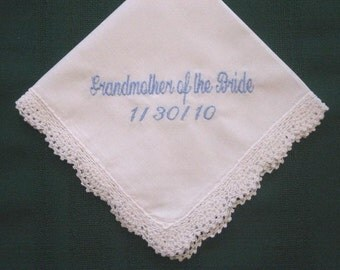 Grandmother Personalized Wedding Handkerchief hankie, hanky 185S with gift box and free shipping in the US