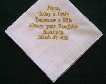For Papa with gold thread with Gift Box 22B Personalized Wedding Handkerchief