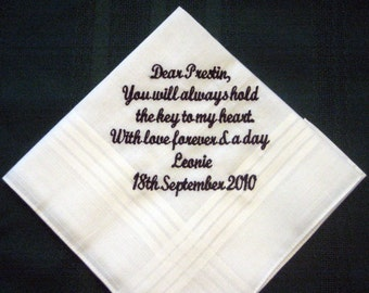 Love letter handkerchief for the groom from the bride groom