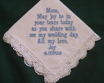 Personalized Wedding Gift - Wedding Handkerchief for Mother of the Bride, bridal gift, Mum of bride 43B