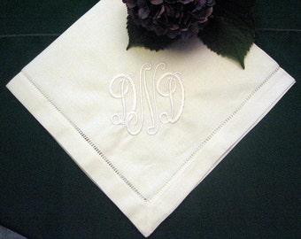 Personalized Monogram Napkins -Hemstitched Linen Dinner Napkin Set of 12