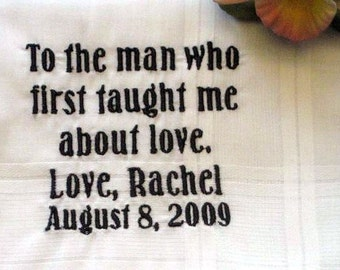 Father of the Bride 4B Personalized Wedding Handkerchief for Dad, bridal hankie,