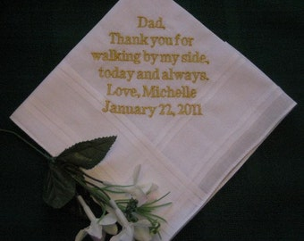 Father of the Bride FREE Gift Box 19B includes shipping in the US. Personalized Wedding Handkerchief