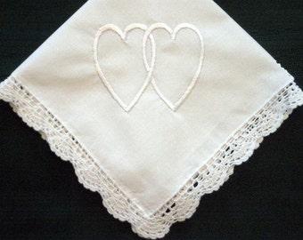 Personalized wedding gift- double heart handkerchief