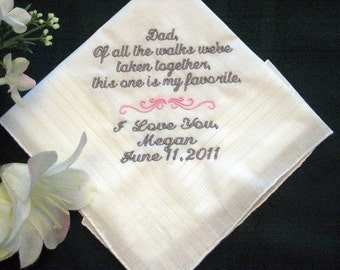 From the Bride to her Father with Free gift box 115S includes Free shipping in the US Personalized Wedding Handkerchief