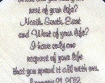 Personalized Wedding Handkerchief for Bride or Groom 122S
