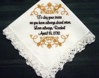 Embroidered Mother of the Bride Gift – Mother of the Bride Handkerchief – Wedding Handkerchief – Personalized Hankie125S