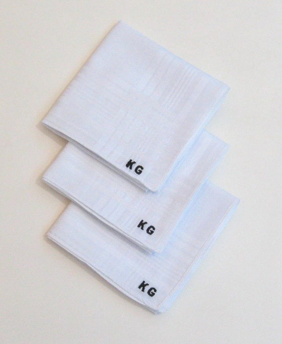 Monogrammed embroidered men's hankies includes FREE shipping in the US and FREE gift box