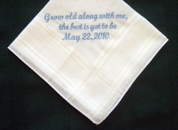 Personalized Wedding Gift-Wedding Handkerchief from Bride to Groom with Gift Box 47S