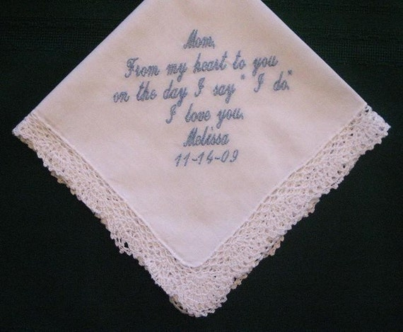 Embroidered Mother of the Bride Gift – Mother of the Bride Handkerchief – Wedding Handkerchief – Personalized Hankie 58S