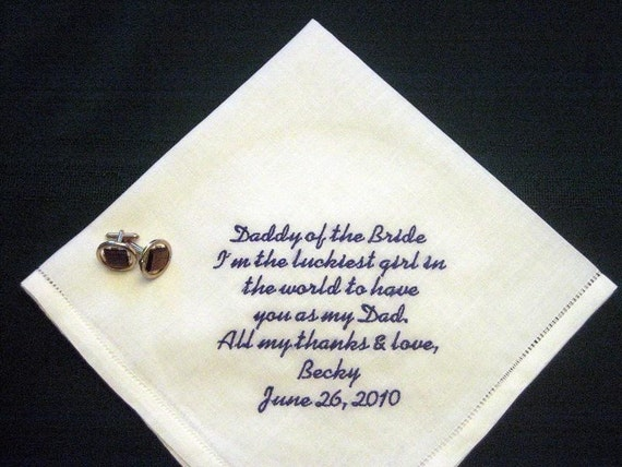 Father Handkerchief - Father of Bride Handkerchief - Daddy of the Bride Handkerchief - Linen Handkerchief - Father of the Bride Gift - 103S