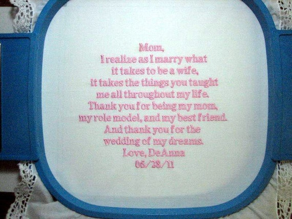 Embroidered Mother of the Bride Gift – Mother of the Bride Handkerchief – Wedding Handkerchief – Personalized Hankie 113B