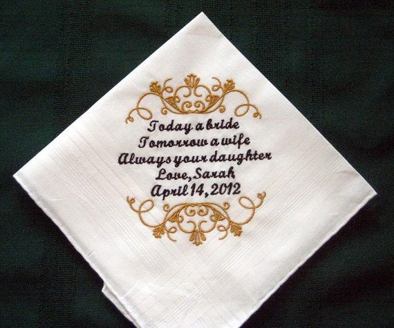 Father of the Bride wedding handkerchief -Hanky-Hankie Gift for Father ...