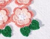 6 handmade peach cotton thread crochet applique roses with leaves -- 1229