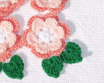 6 handmade peach cotton thread crochet applique roses with leaves -- 1229
