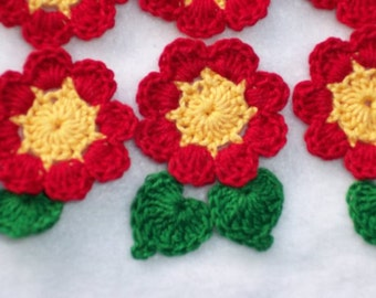 6 yellow/red handmade crochet applique flowers with leaves  --  1327