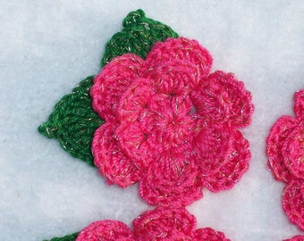 4 bright pink thread crochet roses with leaves -- 1376