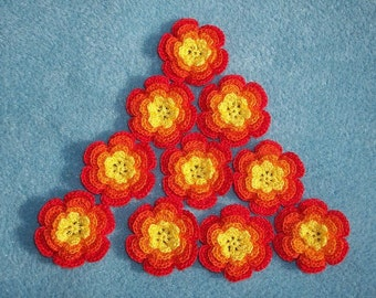 12  cotton crochet applique roses/flowers --  1425