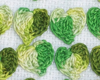 24 handmade variegated green cotton thread crochet applique leaves -- 1733
