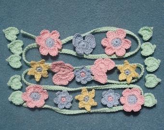 crochet applique vine, leaves, flowers, & butterflies --256