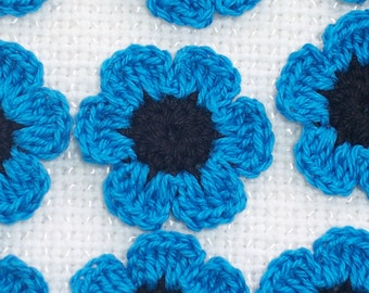 12 black and blue cotton crochet applique flowers --  1521