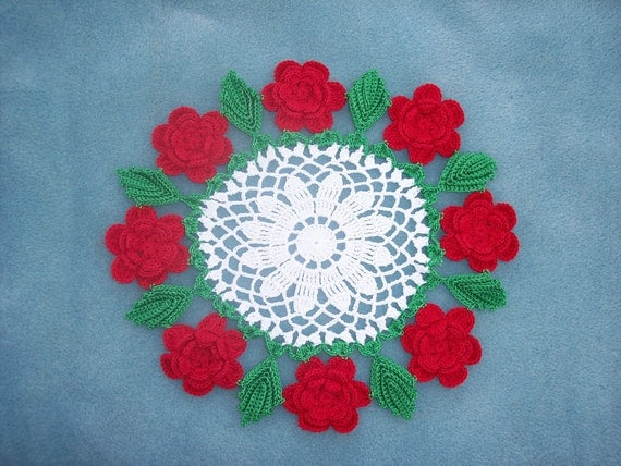 handmade round cotton crochet doily with red roses  -- 731