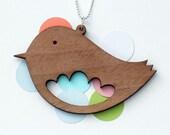 SALE Walnut Scallop Bird Necklace (large)