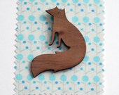 Vixen Fox Brooch. Walnut wood Fox Badge.