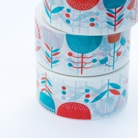 SALE Vinyl Tape, Packaging tape, flower pattern, Bright flower print